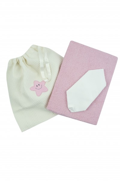 coordinated newborn bath 3 pcs. in cotton. Colour pink, one size Pink One size