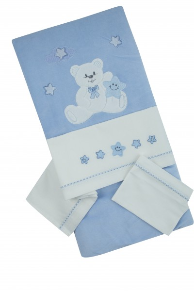 coordinated cot baby chenille 4pcs with baby bear bedding. Colour light blue, one size Light blue One size