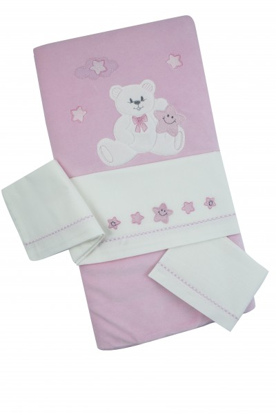coordinated cot baby chenille 4pcs with baby bear bedding. Colour pink, one size Pink One size