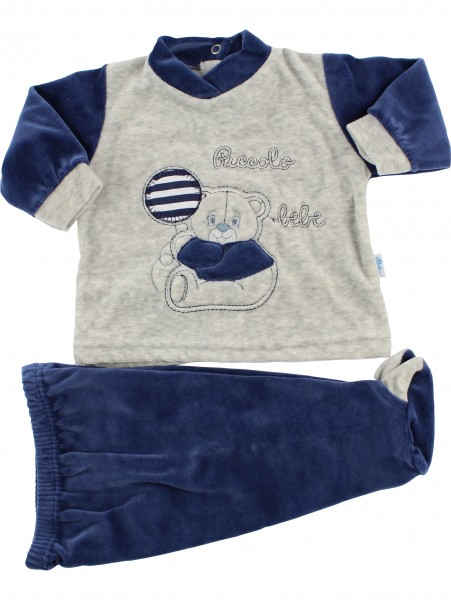 Baby footie clinical outfit in baby chenille.. Colour blue, size first days Blue Size first days