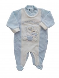Picture baby footie in chenille my friend. Colour light blue, size 0-1 month