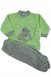 baby footie outfit chenille flies balloon. Colour pistacchio green, size 3-6 months