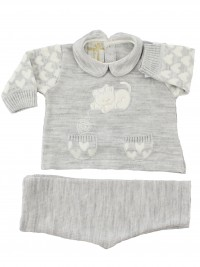 baby outfit mixed wool kitten with ball. Colour grey, size 1-3 months