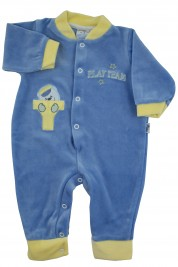 Footless baby footie with little buttons with pressure on the front. Colour light blue, size 1-3 months