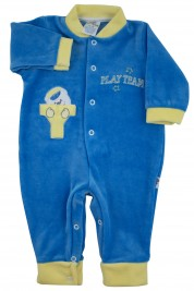 Footless baby footie with little buttons with pressure on the front. Colour royal blue, size 1-3 months