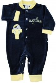 Footless baby footie with little buttons with pressure on the front. Colour blue, size 0-1 month
