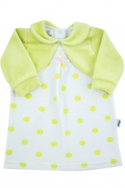 polka dot chenille newborn dress with solid-colored shawl covers. Colour pistacchio green, size 0-1 month