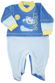 baby footie chenille baby bear playing basketball. Colour light blue, size first days
