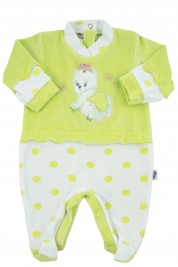 baby footie chenille teddy bear butterfly polka dots. Colour pistacchio green, size 3-6 months