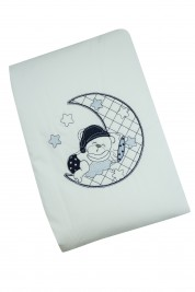 cover cradle or pram baby bear and moon. Colour blue, one size