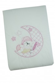 baby bear and moon cradle or pram cover. Colour pink, one size