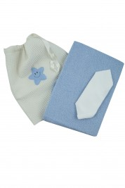 coordinated baby bath 3 pcs. in cotton. Colour light blue, one size