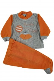 Baby footie outfit clinic chenille small baby.. Colour orange, size 0-1 month