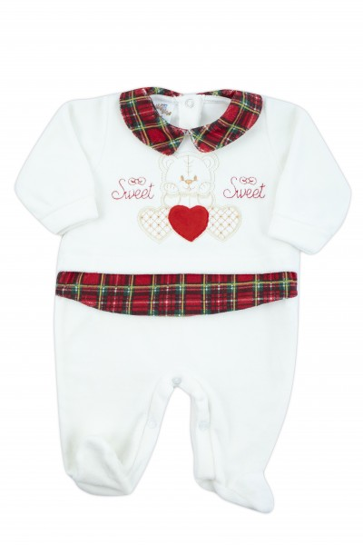 baby footie in soft chenille with red tartan details. Colour creamy white, size 6-9 months Creamy white Size 6-9 months