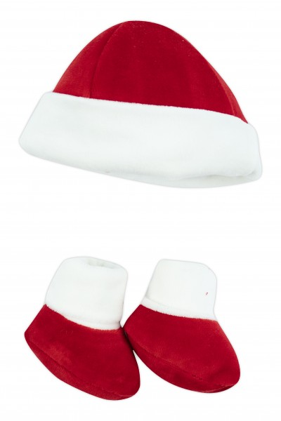 hat and shoes newborn christmas. Colour red, one size Red One size