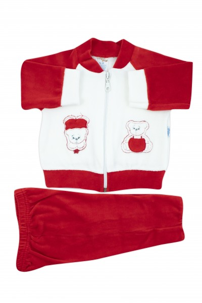 Baby outfit chenille jumpsuit with zipper up and down. Colour red, size 0-3 months Red Size 0-3 months