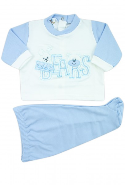 baby outfit interlock with bears writing. Colour light blue, size 1-3 months Light blue Size 1-3 months