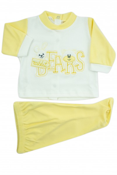 baby outfit interlock with bears writing. Colour yellow, size 0-1 month Yellow Size 0-1 month