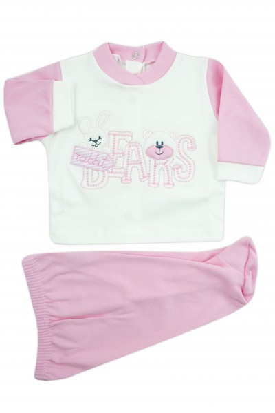 baby outfit interlock with bears writing. Colour pink, size 0-1 month Pink Size 0-1 month