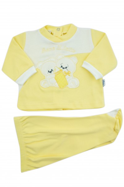 baby outfit I drink milk interlock with inscription and embroidered bears. Colour yellow, size 0-1 month
