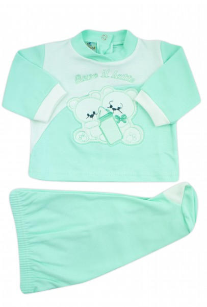 baby outfit I drink milk interlock with inscription and embroidered bears. Colour green, size 0-1 month Green Size 0-1 month