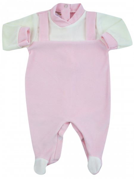 baby footie baby dungarees in one colour. Colour pink, size 0-1 month