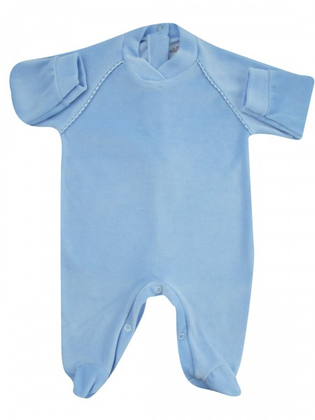 baby footie monochrome baby footie striped on shoulders. Colour light blue, size 0-1 month Light blue Size 0-1 month