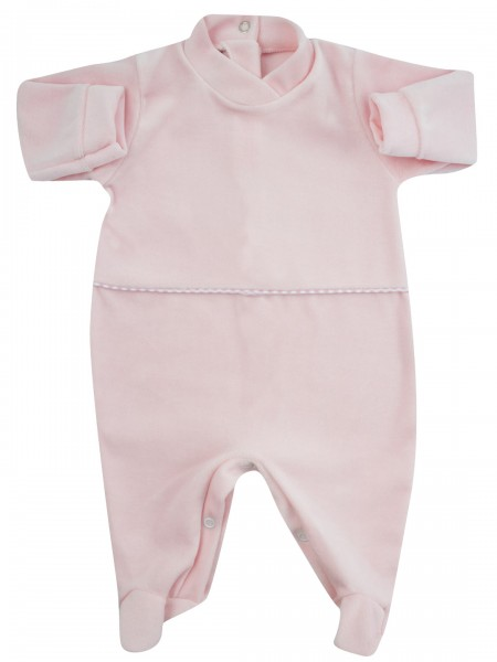 baby footie monochrome chenille with central stripe. Colour pink, size 1-3 months Pink Size 1-3 months
