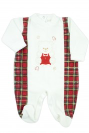 baby footie for newborn baby bear tartan in soft chenille. Colour creamy white, size 6-9 months