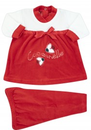 outfit for newborn red ladybugs in chenille. Colour red, size 1-3 months