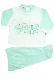 baby outfit interlock with bears writing. Colour green, size 0-1 month