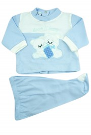 baby outfit I drink milk interlock with inscription and embroidered bears. Colour light blue, size 0-1 month