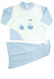 outfit x always my interlock with three bears. Colour light blue, size 1-3 months