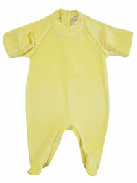 baby footie monochrome newborn baby stripe on shoulders. Colour yellow, size 1-3 months