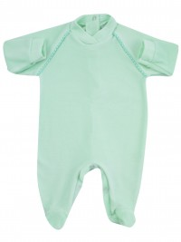 baby footie monochrome newborn baby stripe on shoulders. Colour green, size 1-3 months