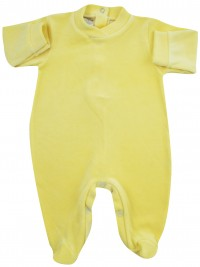 baby footie for monochrome infant. Colour yellow, size 0-1 month
