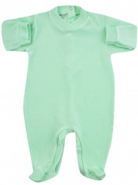 baby footie for monochrome infant. Colour green, size 0-1 month