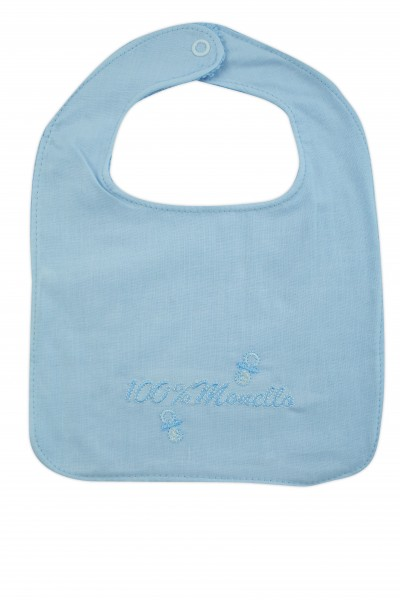 baby bib in 100% cotton. Colour light blue, one size Light blue One size