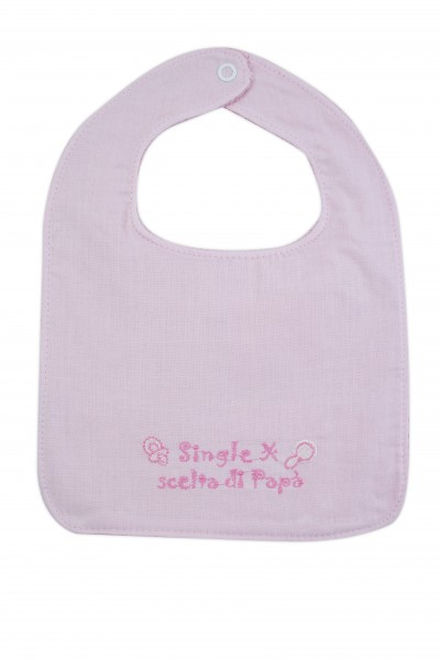 baby bib in 100% cotton. Colour pink, one size Pink One size