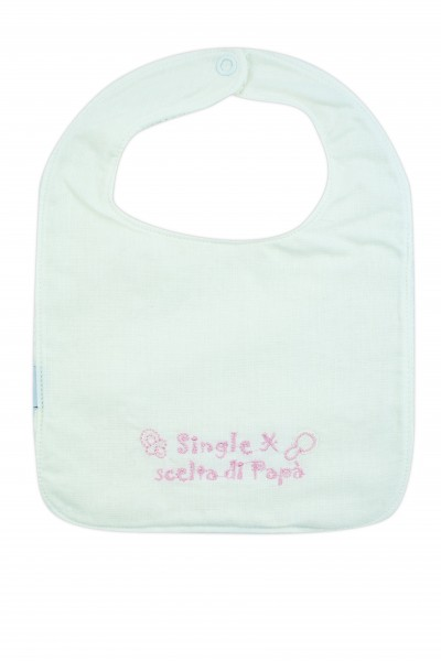 white cotton baby bib. Colour pink, one size Pink One size