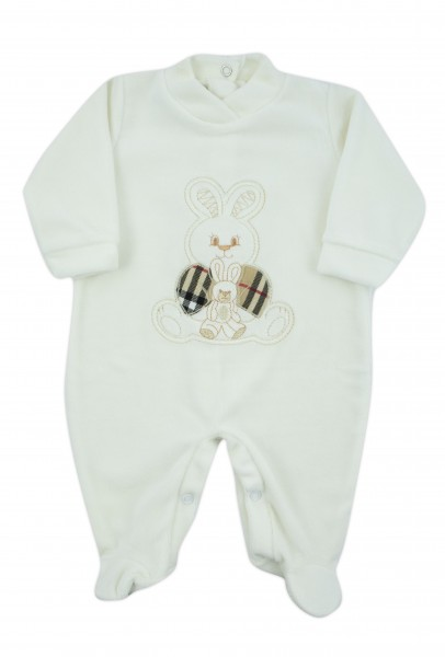 baby footie chenille with bunny and tartan. Colour creamy white, size 0-1 month Creamy white Size 0-1 month