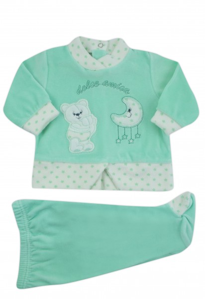 sweet friend chenille baby outfit. Colour green, size 3-6 months