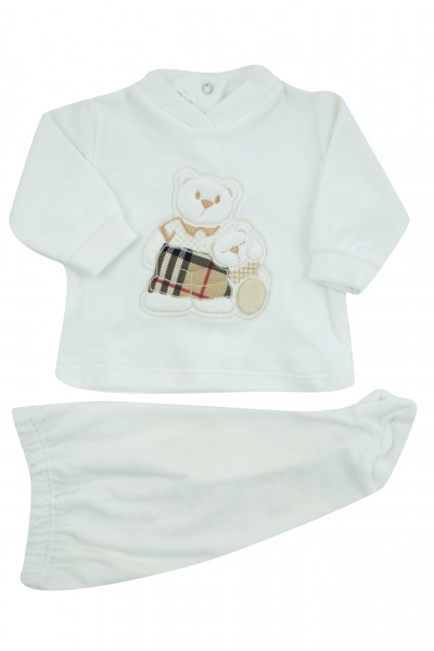baby outfit chenille hug bears. Colour creamy white, size 0-1 month