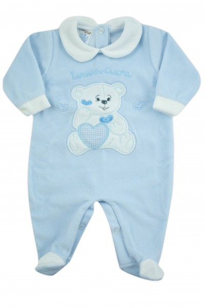 baby footie chenille baby bear tender hearts. Colour light blue, size 6-9 months Light blue Size 6-9 months