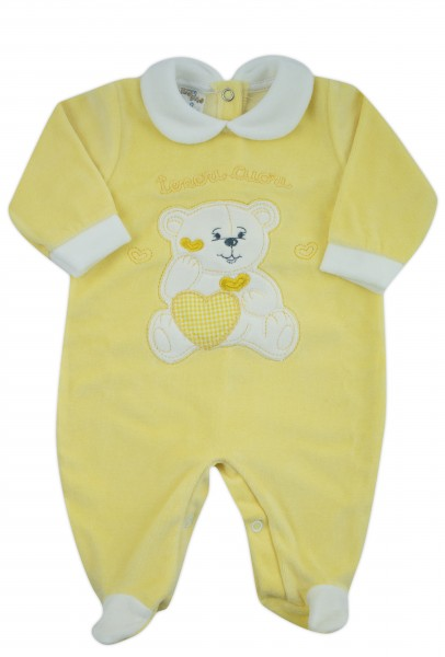 baby footie chenille baby bear tender hearts. Colour yellow, size first days Yellow Size first days