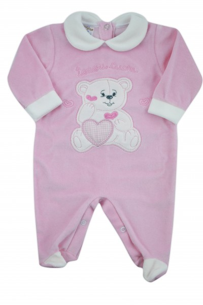 baby footie chenille baby bear tender hearts. Colour pink, size 1-3 months Pink Size 1-3 months