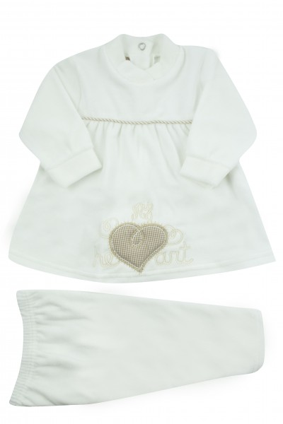baby outfit chenille vestina my heart. Colour creamy white, size 6-9 months Creamy white Size 6-9 months