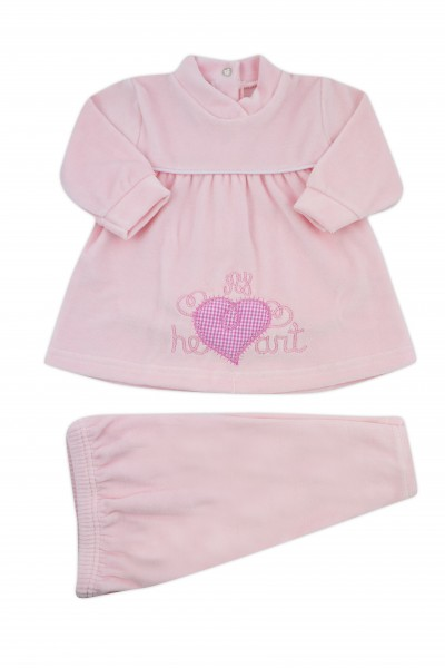 baby outfit chenille vestina my heart. Colour pink, size 1-3 months Pink Size 1-3 months
