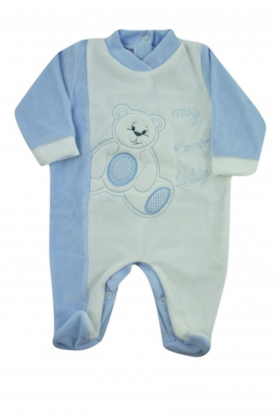 baby footie chenille my love teddy. Colour light blue, size 6-9 months Light blue Size 6-9 months