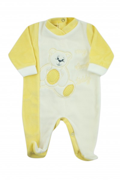 baby footie chenille my love teddy. Colour yellow, size 3-6 months Yellow Size 3-6 months